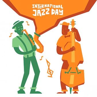 Cartel del día internacional del jazz con músico.