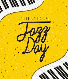 Cartel del día internacional del jazz con teclado de piano