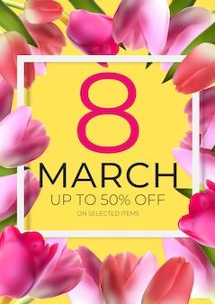 Cartel del día internacional de la mujer feliz 8 de marzo banner de venta de tarjetas de felicitación