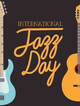 Cartel del día del jazz con guitarras.