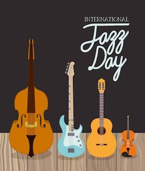 Cartel del día de jazz con instrumentos de cuerda.