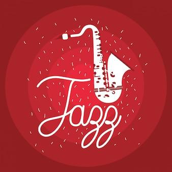 Cartel del día de jazz con saxofón.
