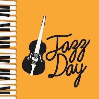Cartel del día de jazz con teclado de piano y violín.