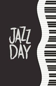 Cartel del día de jazz con teclado de piano.