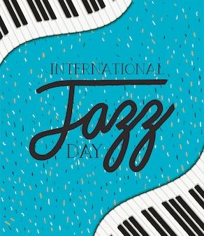 Cartel del día del jazz con teclado de piano
