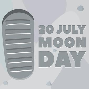 Cartel del día de la luna. huella, suelo lunar.