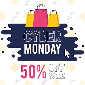 Cartel del día del lunes cibernético con bolsas de compras