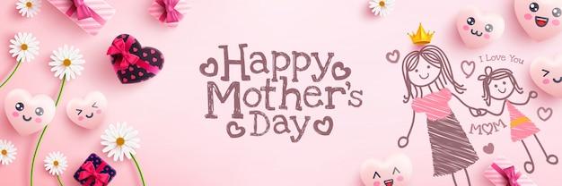Cartel del día de la madre con caja de regalo, corazones lindos y pintura de emoticones de dibujos animados sobre fondo rosa.promoción y plantilla de compras o fondo para el concepto de amor y día de la madre