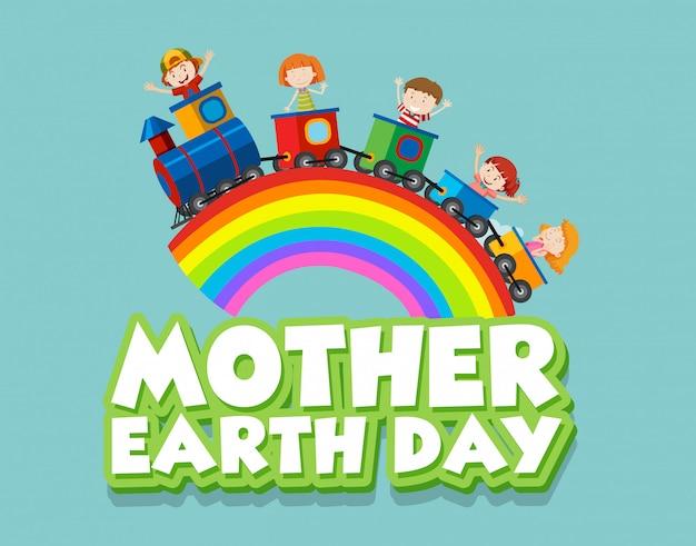 Cartel para el día de la madre tierra con niños felices en el tren
