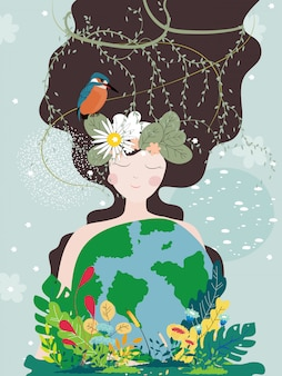 Cartel del día de la madre tierra con planeta y naturaleza belleza mujer.