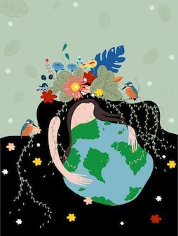 Cartel del día de la madre tierra con el planeta.