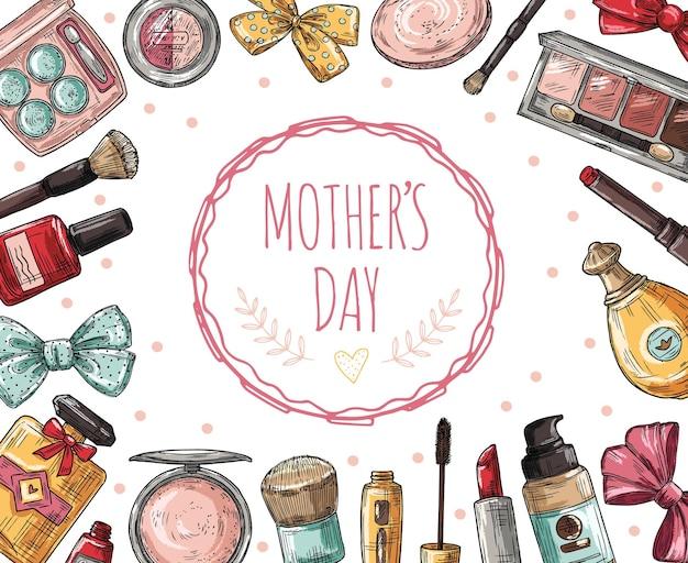 Cartel del día de las madres con cosméticos. pestañas, pintalabios y perfume, polvos y brocha de maquillaje. esmalte de uñas, concepto de vector de fundación. banner de día de mamá de ilustración con lápiz labial y maquillaje