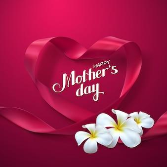 Cartel del día de las madres felices con corazón de cinta roja y flores