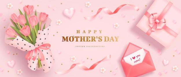 Cartel del día de las madres o pancarta con tulipanes