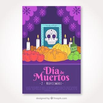 Cartel del día de muertos con altar dibujado a mano