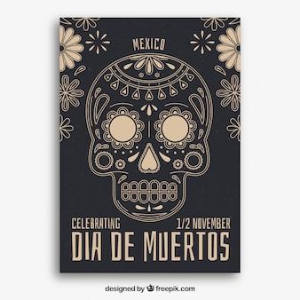 Cartel del día de muertos con calavera vintage