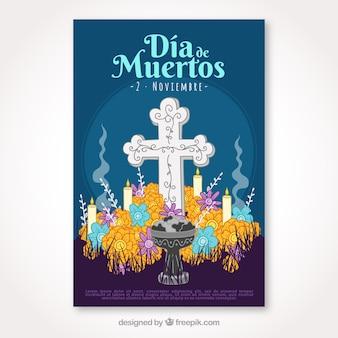 Cartel del día de muertos con cruz dibujada a mano