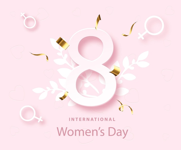 Cartel del día de la mujer feliz. 8 de marzo feriado. diseño de primavera. tarjeta de felicitación.