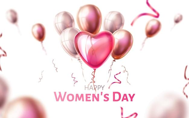 Cartel del día de la mujer feliz globos voladores en forma de corazón realista