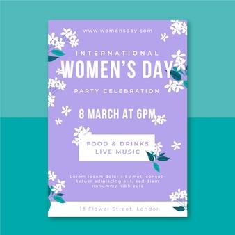 Cartel del día de la mujer minimalista floral.