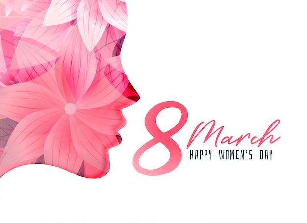 Cartel del día de la mujer con rostro de niña hecho con flor.