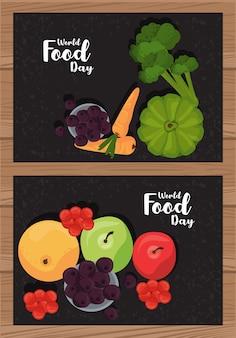 Cartel del día mundial de la alimentación con verduras en diseño de ilustración de madera y negro
