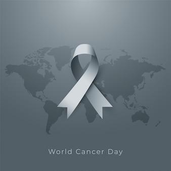 Cartel del día mundial del cáncer en tono gris
