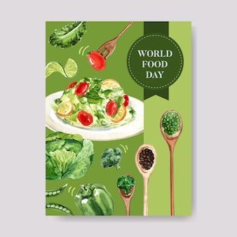 Cartel del día mundial de la comida con ensalada, tomate, limón, repollo, frijol acuarela ilustración.