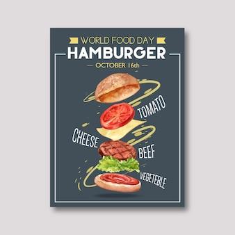Cartel del día mundial de la comida con hamburguesa, tomate, carne de res, ilustración acuarela vegetal.