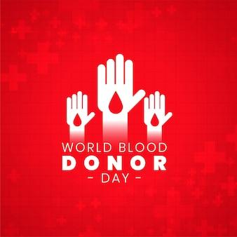 Cartel del día mundial del donante de sangre con manos voluntarias