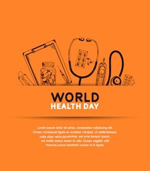 Cartel del día mundial de la salud con equipamiento médico.