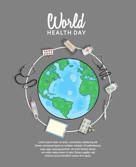 Cartel del día mundial de la salud con equipo médico y globo.