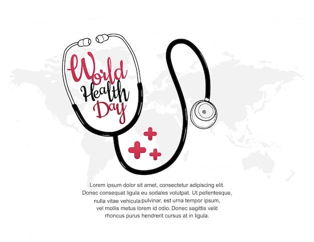 Cartel del día mundial de la salud con estetoscopio.