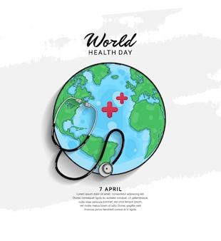 Cartel del día mundial de la salud con globo y estetoscopio.