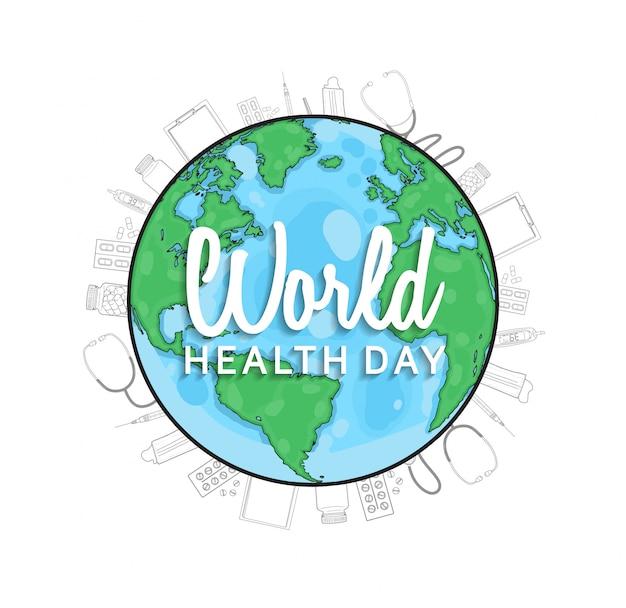 Cartel del día mundial de la salud con globo.