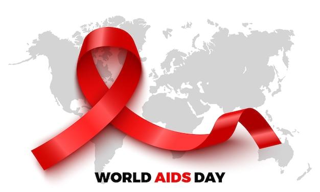 Cartel del día mundial del sida. cinta roja de conciencia. ilustración.