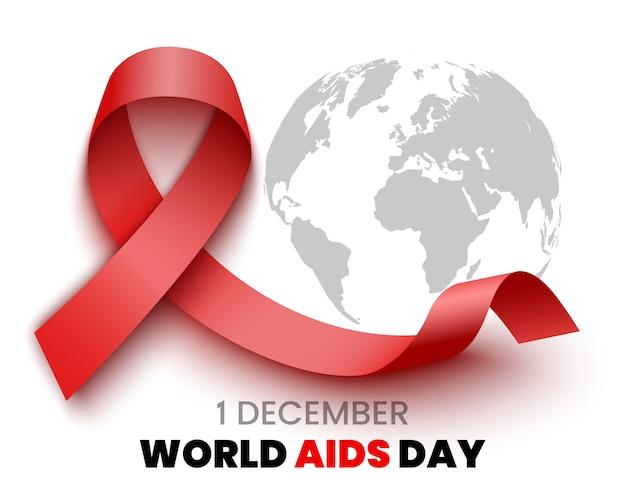 Cartel del día mundial del sida. listón rojo. ilustración.