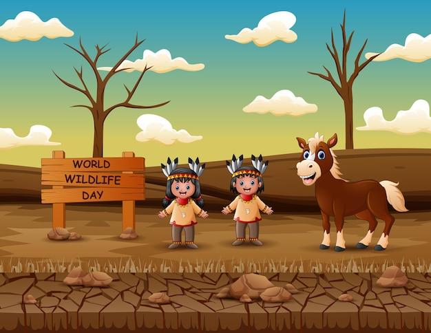 Cartel del día mundial de la vida silvestre con niños nativos americanos de origen indio