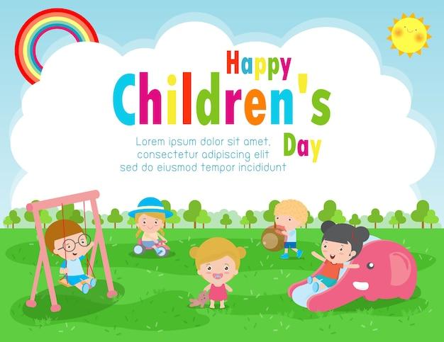 Cartel del día del niño feliz con ilustración de fondo de tarjeta de felicitación de niños felices diseño del día internacional del niño