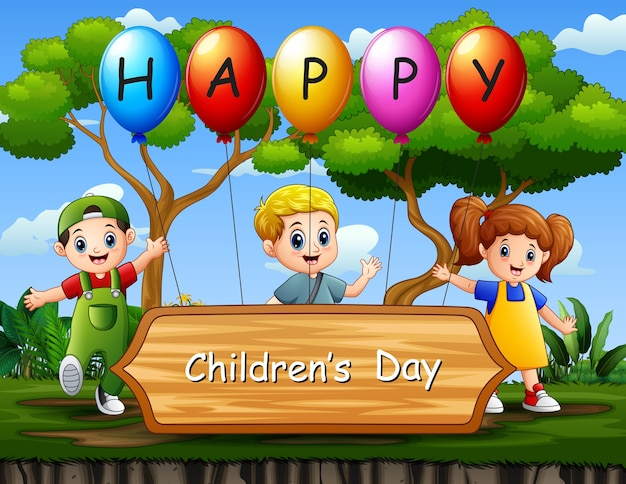 Cartel del día del niño feliz con niños en la ilustración del parque