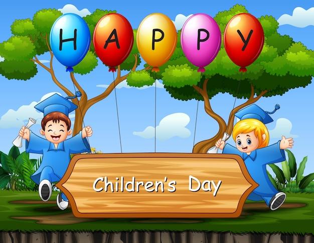 Cartel del día de los niños felices con ilustración de niños de graduación