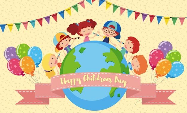 Cartel del día de los niños felices con niños y globos