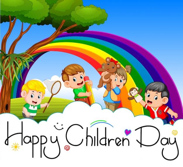 Cartel del día de los niños felices
