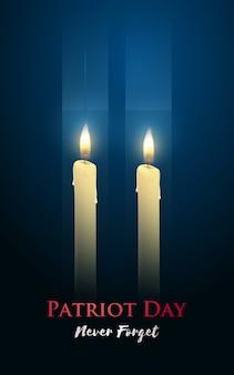 Cartel del día del patriota con velas