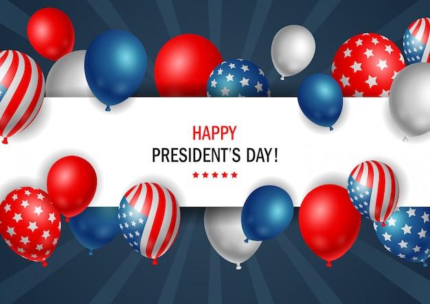 Cartel del día de los presidentes con globos brillantes con marco horizontal.