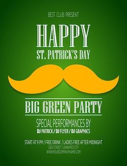Cartel del día de san patricio con bigote y sombrero