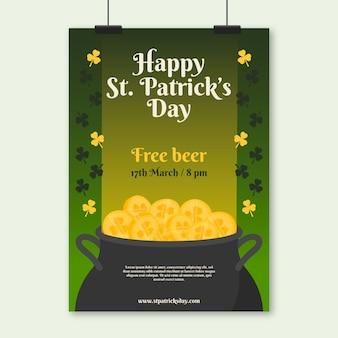 Cartel del día de san patricio con cerveza y monedas gratis