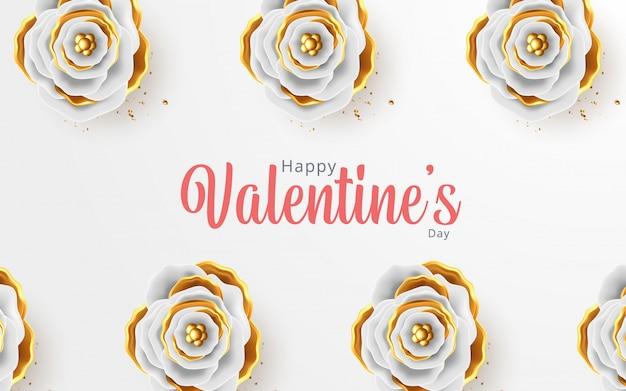 Cartel del día de san valentín con corazones dorados 3d