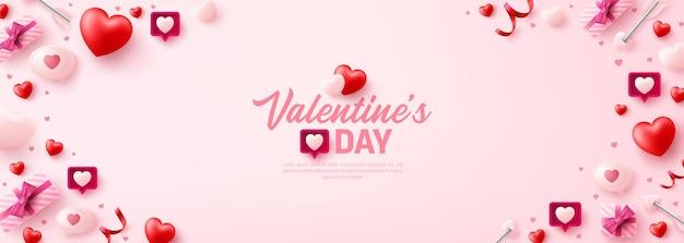 Cartel del día de san valentín o pancarta para el sitio web de redes sociales con corazones dulces y elementos de san valentín en rosa.