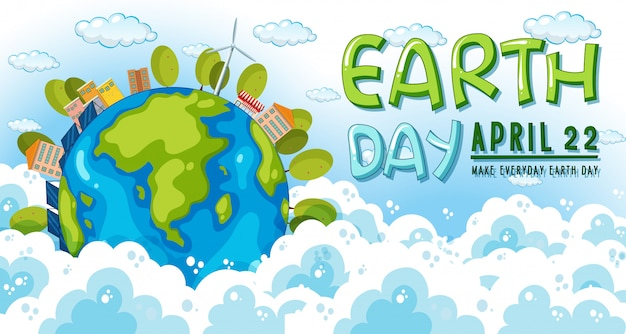 Cartel del día de la tierra 22 de abril
